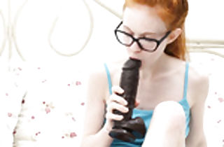 Redhead teenager bitch in glasses sucking-fucking