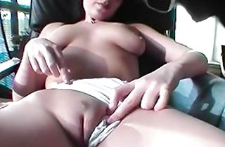 German bbw coupled with puerile demonstrating melons coupled with fuck dildo