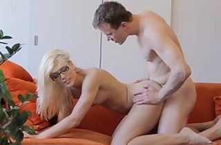Cumshot on glasses makes nerdy gal blessed