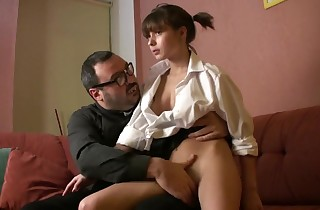 Padre Damian hard fucked little slut