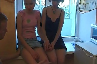 Youthfull Julia & Milena fucked on the kitchen