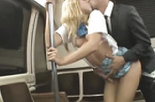 Russian underground railway mega-slut obtaining groped with an increment of pounded