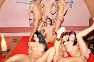 Outstanding school Double penetration party sex scene